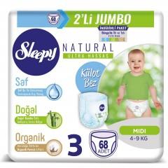 Sleepy Natural İkili Jumbo Külot Bebek Bezi 3 Numara 68 Adet
