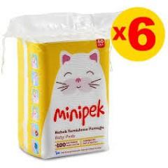Minipek Bebek Temizleme Pamuğu 60 Adet 6'lı Set