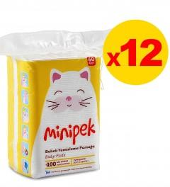Minipek Bebek Temizleme Pamuğu 60 Adet 12'li Set