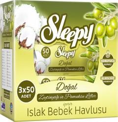 Sleepy Zeytinyağlı Islak Mendil 3x50  Yaprak