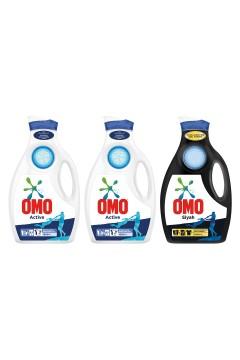 Omo Sıvı Çamaşır Deterjanı Active  1950 ml x 2 Adet + Omo Black 1950 ml