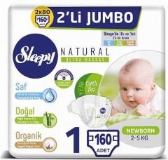 Sleepy Natural İkili Jumbo Bebek Bezi 1 Numara 80 li 2 Paket (160 Adet)