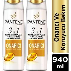 Pantene Onarıcı ve Koruyucu Bakım 470 ml 3'ü 1 Arada Şampuan ve Saç Bakım Kremi 2'li Paket