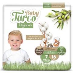 Baby Turco Doğadan 7 Numara Xxlarge 16 Adet Bebek Bezi