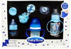 Baby Time 5' li Biberon ve Emzik Set Mavi