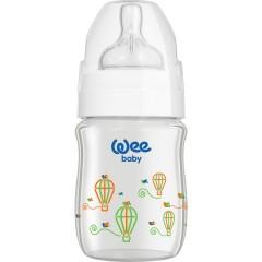 Wee Baby Klasik+ Geniş Ağızlı Isıya Dayanıklı Cam Biberon 120 ml - Beyaz