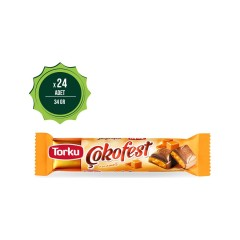 Torku Çokofest Karamel Dolgulu Sütlü Çikolata (34 gr) x 24 'lü Koli