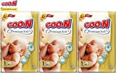 Goon Premium Soft Bebek Bezi Yenidoğan 1 Beden Jumbo Paket 60 lı 3'lü Fırsat Paketi