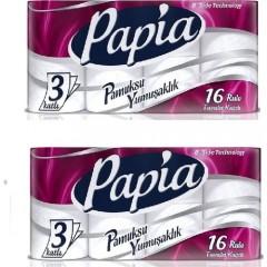Papia 3 Katlı Tuvalet Kağıdı 16'lı 2 Adet