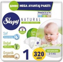 Sleepy Natural İkili Jumbo Bebek Bezi 1 Numara 80 li 4 Paket (320 Adet)