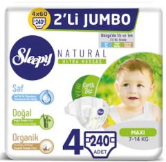 Sleepy Natural İkili Jumbo Bebek Bezi 4 Numara 4 Paket (240 Adet)